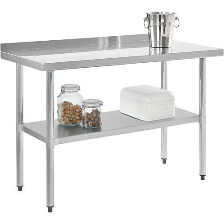 nexel wb4824bss stainless steel work table w 2 h back splash lower shelf 48 w x