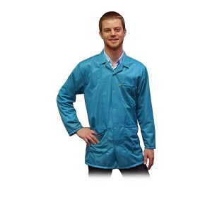 Transforming Technologies 9010 Series ESD Jacket (Lapel Collar, Teal, 90% Poly/10% Carbon Fabric)