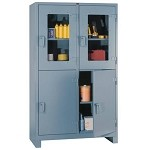 Lyon 11204DV All-Welded Clear-View Multi-Door Cabinet (4 Door, 1 Full-Width Shelf Per Compartment, 48