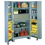 Lyon 1127 All-Welded Four Shelf and 12 Bin Cabinet (39