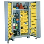 Lyon 1128 All-Welded Four Shelf and 36 Bin Cabinet (39
