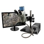 Aven 26800B-382 SPZV-50 True Trinocular Stereo Zoom Microscope (w/ Double-Arm Boom Stand, HD Camera, LED Fiber Optic Ring Light & 22