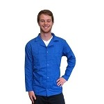 Transforming Technologies JWC54 5049 Series ESD Jacket (Lapel Collar, Light Blue, Snap Cuff, 66% Poly/32% Cotton/ 2% Carbon)