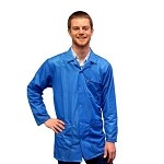 Transforming Technologies JKC90 9010 Series ESD Jacket (Lapel Collar, Light Blue, 90% Poly/10% Carbon Fabric)