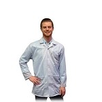 Transforming Technologies JKC90 9010 Series ESD Jacket (Lapel Collar, White, 90% Poly/10% Carbon Fabric)