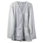 Transforming Technologies JKV88 8812 Series Lightweight ESD Jacket (V-Neck, White, Snap Cuff, 88% Poly/12% Carbon)
