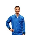 Transforming Technologies JWC54 5049 Series ESD Jacket (Lapel Collar, Light Blue, Knit Cuff, 66% Poly/32% Cotton/2% Carbon)