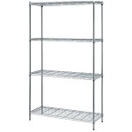 Quantum Storage Systems RWR72-2436LD 4-Shelf Wire Shelving Unit (Single Box Shipment, 24