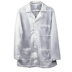 Transforming Technologies JWC54 5049 Series ESD Jacket (Lapel Collar, White, Snap Cuff, 66% Poly/ 32% Cotton/ 2% Carbon)