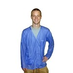 Transforming Technologies JKV88 8812 Series Lightweight ESD Jacket (V-Neck, Light Blue, Snap Cuff, 88% Poly/12% Carbon)