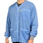 SCS 770- Dual-Wire ESD Jacket (Blue, Knit Cuff, V-Neck, 3-Pocket, XS-5XL)