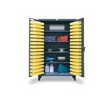LewisBin CAB48-4 Metal Storage Cabinet W/ Hanging Bin Louvered Panels & 4-Shelves (144 Bin Total, 48