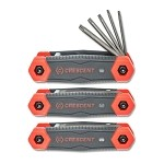 Crescent CHK3PC 3pc. Folding Hex Key Set (SAE, Metric & Torx® - 8 Keys Each)